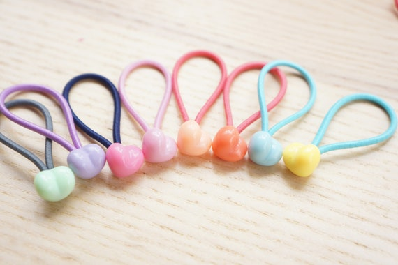 Set of 8 Little Heart Beaded Hair Ties Baby Infant Toddler  713dfd60040