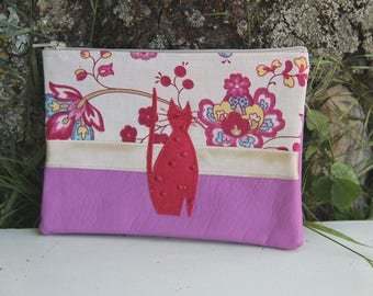 Pink/flowery Textile pouch