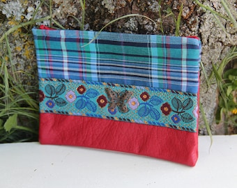 Red/butterfly blue textile pouch