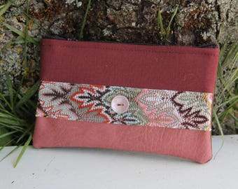 Old textile purse pink / Brown