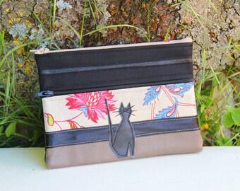 Black Textile pouch / taupe double zipper cat