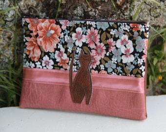 Old Pink/Brown/Flowery Textile Pocket