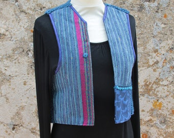 Bolero blue textile and chamarré fuchsia