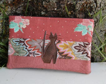 Old textile purse pink / Brown cat