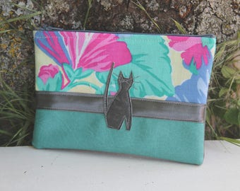 Water green textile bag / gray floral