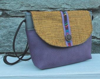 Le Chat-Marré purple and ochre shoulder bag