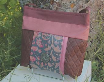 Handbag fabric Brown / pink