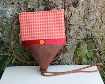 Small brown and orange textile shoulder bag