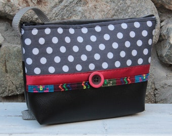 Black and grey polka dot shoulder bag