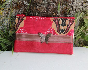 Red butterfly fabric purse