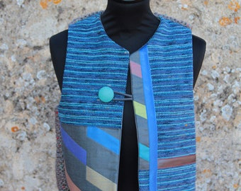 Blue/grey/yellow wool bolero