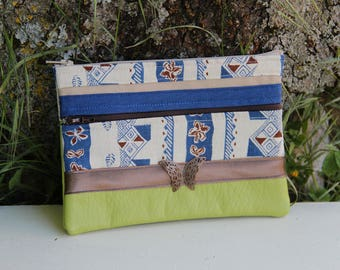 Clutch Textile lime / blue butterfly double zipper