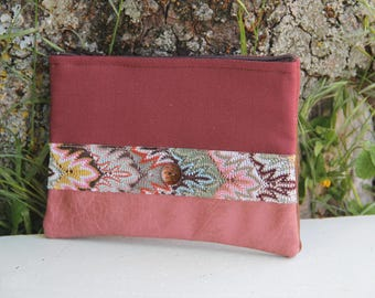 Old Pink/Brown Textile Pocket
