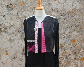 Black and pink textile Bolero fashioned