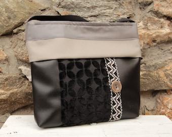Black and grey Cat-Marré shoulder bag