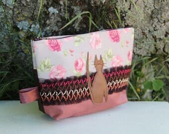 Textile bag old pink / Brown / floral