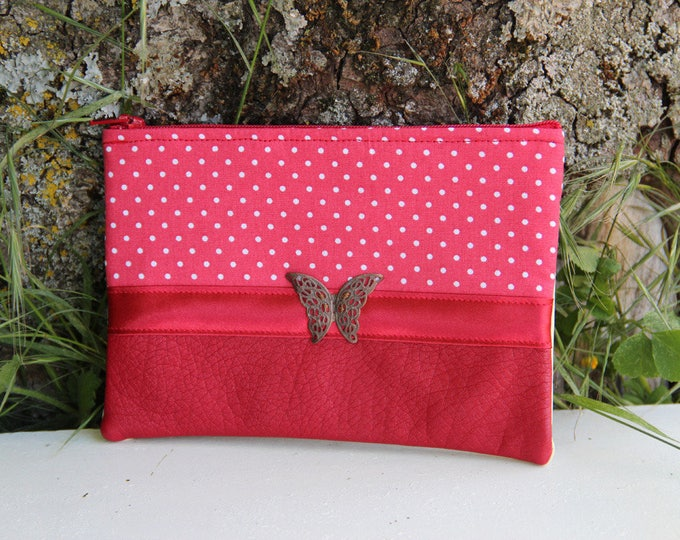 Featured listing image: Red fabric clutch / Ecru dots tie
