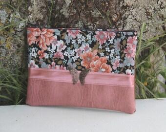 Textiles old pink clutch bag / Brown / floral