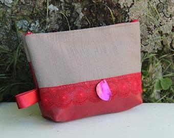Textile bag red / beige