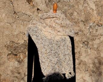 The cat-fun Ecru mottled beige/Brown scarf