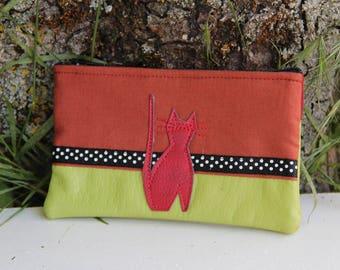 Wallet textile lime / rust