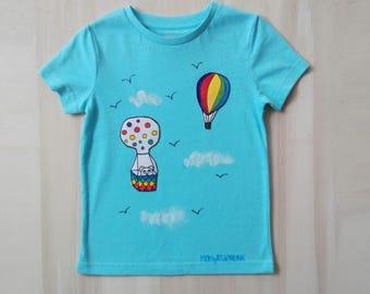 Hot air baloon t-shirt, light turquoise kids t-shirt, sky t-shirt, decorated t shirt, hand painted fabric, sky - blue t-shirt, fly t-shirt