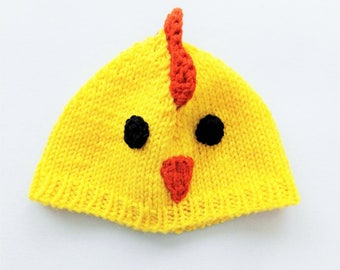 Chick baby hat. Handmade beanie. Unisex accessories. Gender neutral baby hat. Chick cap. Chick. Woollen hat, woolly beanie. Made in Italy