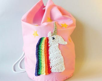 Unicorn bag, pink backpack, backpack with unicorn, decorated bag, gym bag, gym backpack, school bag, kindergarten bag, pink bag, rainbow bag