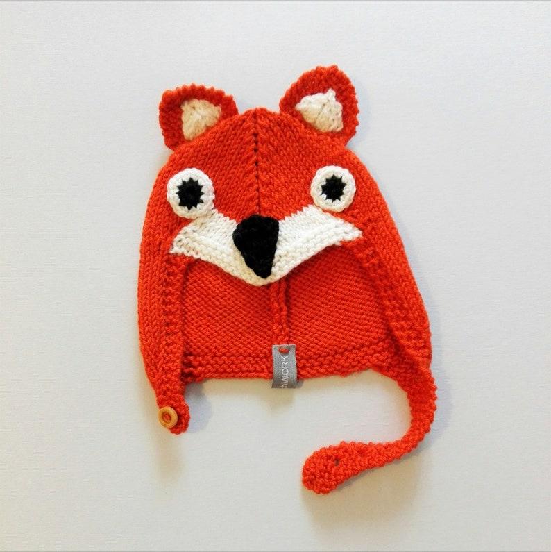 01e98a318 Woolly fox hat for kids fox beret knitted hat fox beanie.