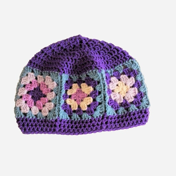 Granny square hat ultra violet hat seventies hat hippies  130458a3e82