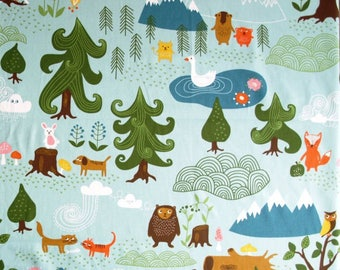Fabric by the meter, little bear, bear, clouds, trees, forest animals