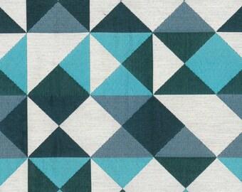 Tissu motif géométrique  bleu