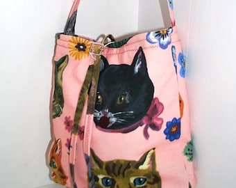 Cat pink floral shoulder bag handbag