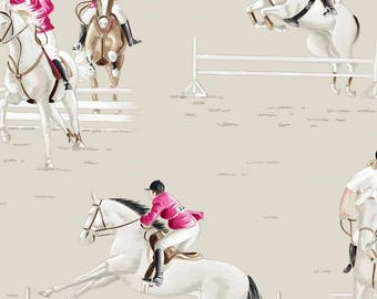 "Fabric by the meter, horses, racing, jumping, wide, in 280cmL ""galloping"" Thévenon"