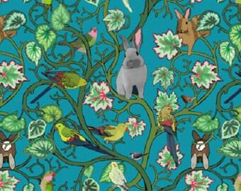 coupon, fabric, bunnies, art nouveau