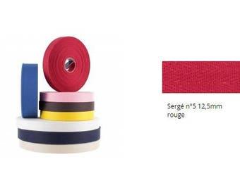 Ribbon, Twill, cotton, red, 12.5 mm strap