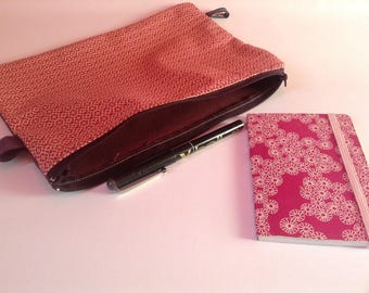 Pouch or clutch bag plum and pink graphics designs