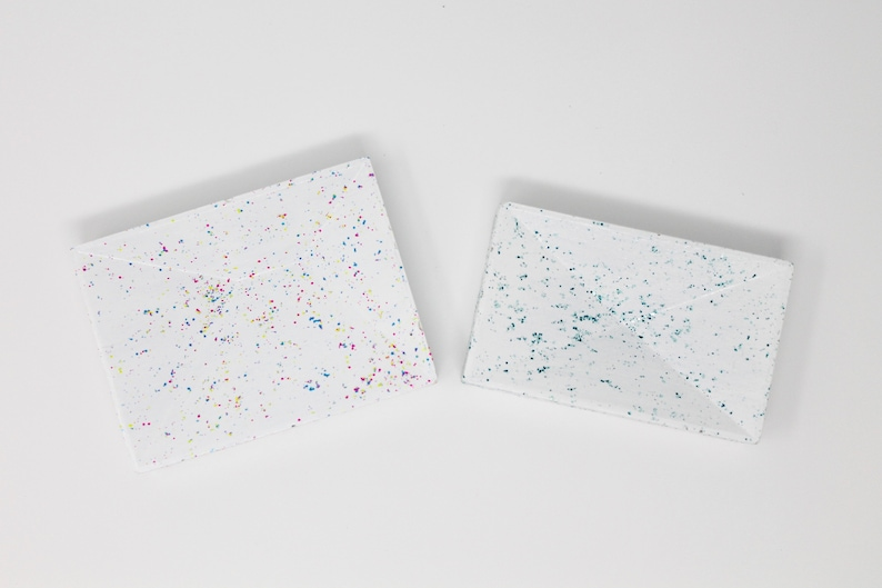 Rainbow or Blue For Jewellery or Desk Accessories Speckled Confetti Ring Dish Modern Geometric Concrete Trinket Holder Two Sizes