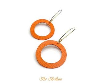 Leather ring, earrings, orange earrings