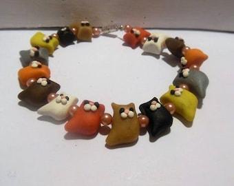 Bracelet p' little cat polymer clay
