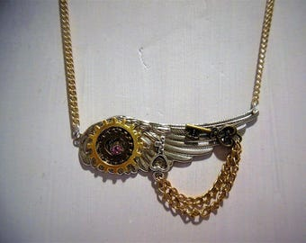 Steampunk gears and wing necklace