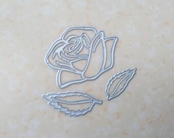 die cut rose and leaves. Die cut