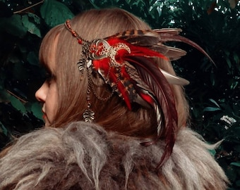 Tiara with red and brown feathers and red jade pearl accessories hairstyle pagan Shaman tribal witch fusion