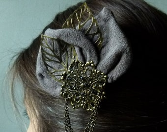 Elise pliers, elegant gray and bronze hairstyle accessory surmounted by leaves and steampunk romantic print, victorious
