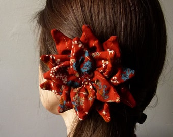 Flower Dahlia in brick-colored fabric with small flowers accessory boho and retro spring