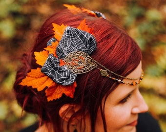 """Tiare and pliers """"Puck"""" in autumn colors and petals with spider webs accessory of magical hairstyle halloween costume evening"""