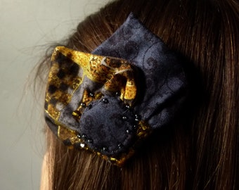 Zoé clamp stylish hairstyle accessory gray print klimt spread unique handmade fabric gold gray