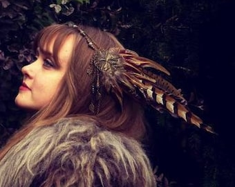 Tiare Guardian with brown feathers and labradorite pearls crown pagan ceremony headdress druidic witch nature bird