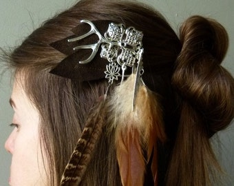 The feathered hair clip, wood silver deer and petal leather hair accessory Bohemian pagan shaman costume larp festival