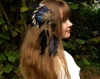 Haniwa Feather Clip Black and Blue Feather Hairstyle Accessory Pagan Shaman Bird Costume